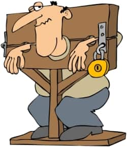 illustration of man in pillory stock