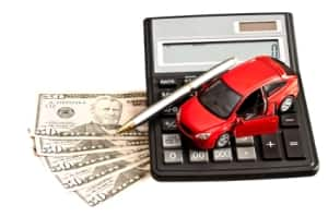 car, calculator and money