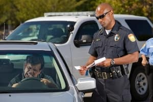Angry man getting a ticket