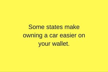 least expensive states to own a car