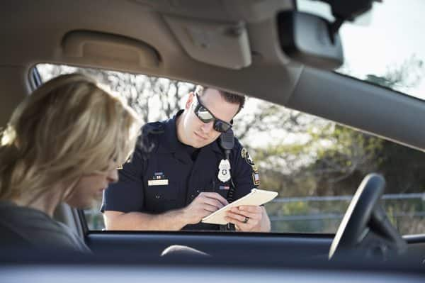 Police officer issuing ticket