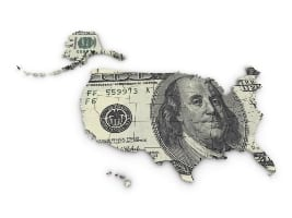 dollar over map of USA