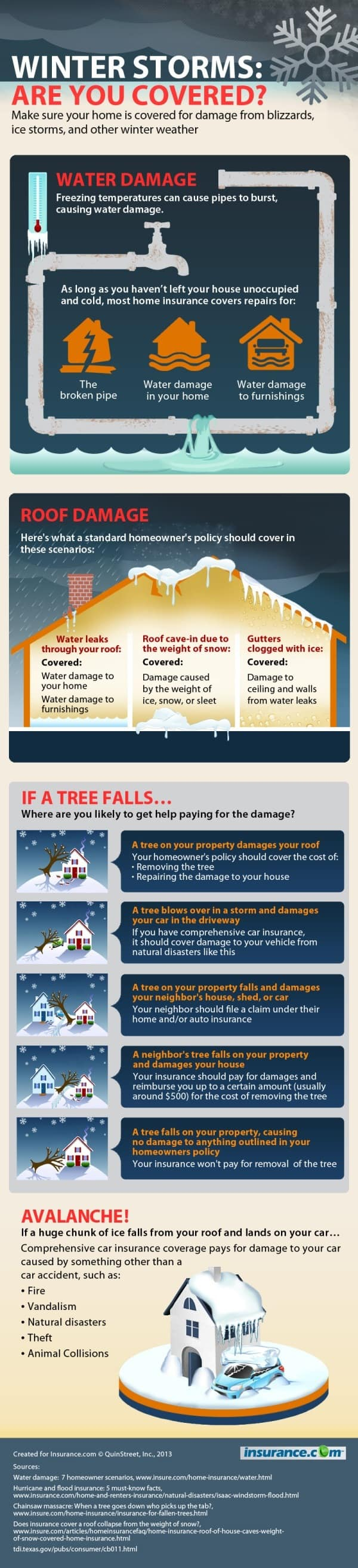 Winter storm and blizzard infographic on homeowners insurance coverage