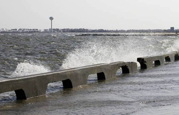 Water over seawall