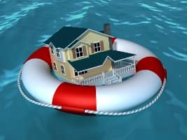 Home in life preserver drifting on water