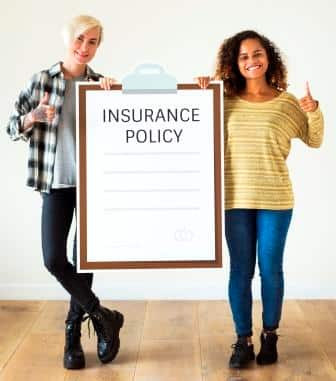 College women with insurance policy clipboard