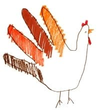 child's hand drawn turkey