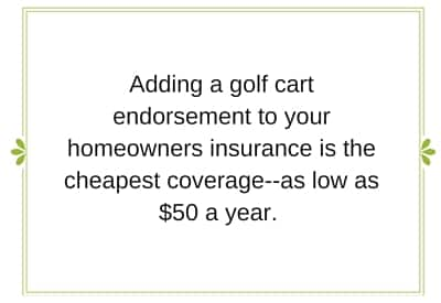 Golf cart insurance rates