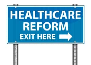 health care reform exit road sign