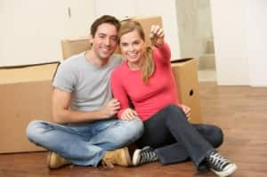 young couple in new home