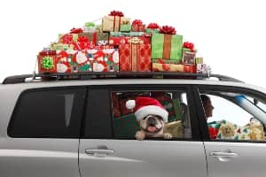 Car loaded with wrapped gifts