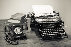 Vintage phone, typewriter